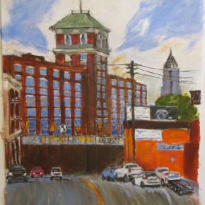 Atlanta Sears Building/Ponce City Market by Shannon Goines -Atlanta, Acrylic on Paper